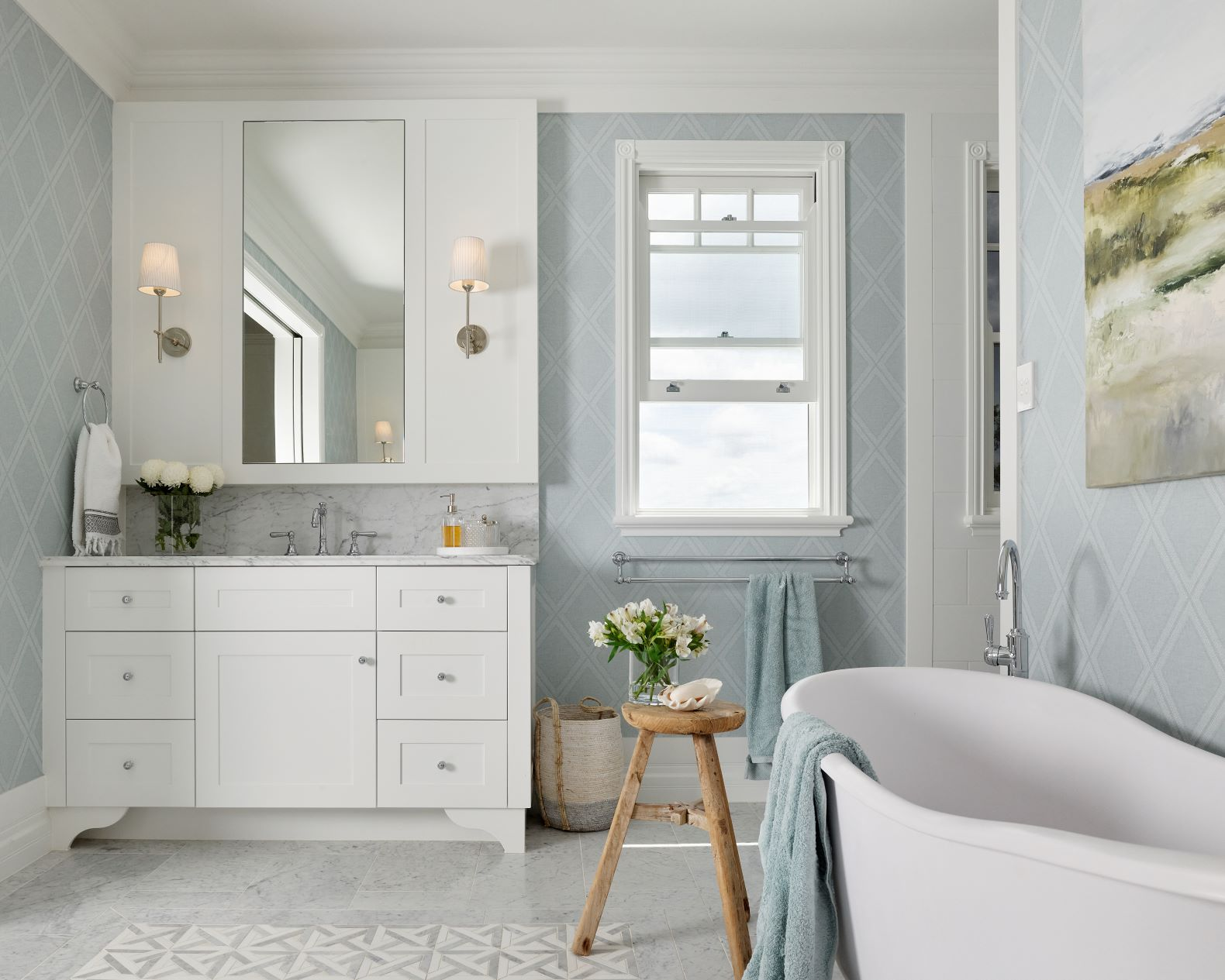 Bathoroom renovation at the Navy hoise featured in House and Garden Magazine