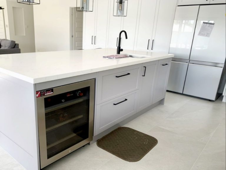 built in fridge bar kitchen renovation